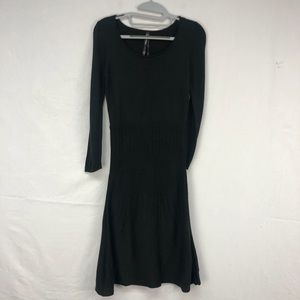 Andrew Marc Black Fit/Flare Knit Sweater Dress